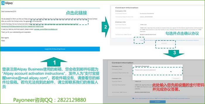 登录注册AlipayBusiness使用的邮箱,会收到一封邮件,请你签署代扣协议