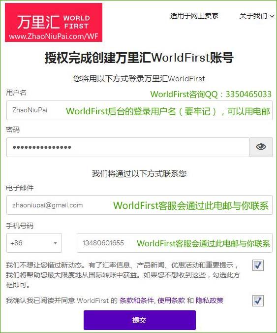 授权完成创建万里汇WorldFirst账号