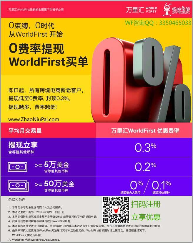 万里汇WorldFirst终极优惠:0.3%封顶!