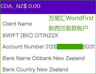 万里汇WorldFirst新西兰收款账户