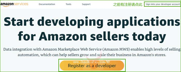 点击[Register as a developer] 或[Sign into your developer account]