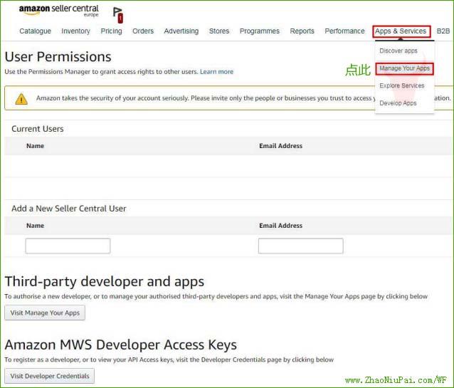 在导航栏中查找并点击Apps&Services,在下拉菜单里点击ManageYourApps